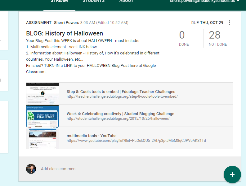 Our Halloween Blog Post Assignment...